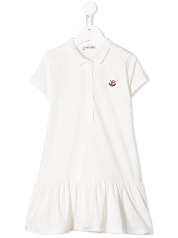 Moncler Kids' Little Girl's & Girl's Flounce Hem Polo Dress In White