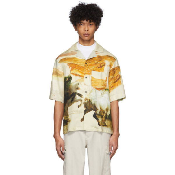 Acne Studios Horse-print Shirt In Cream Multi Color