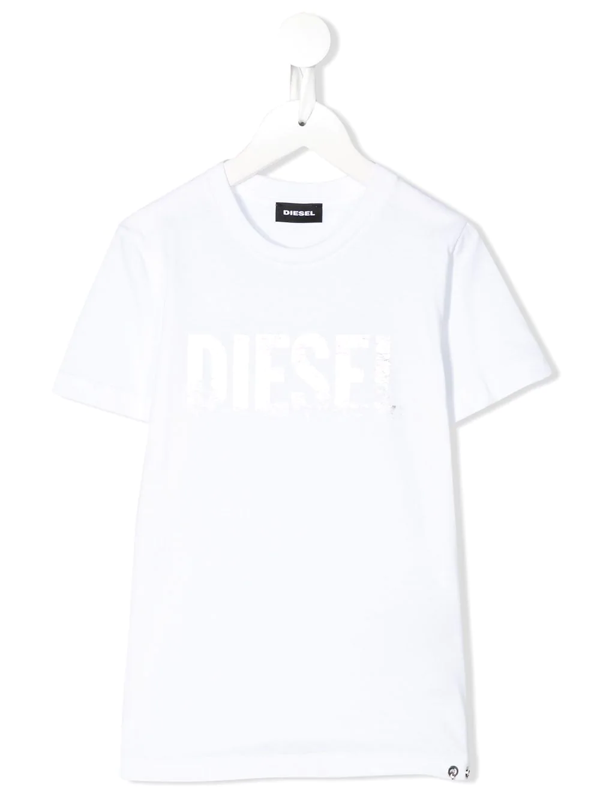 Diesel Kids' White T-shirt With White Frontal Logo