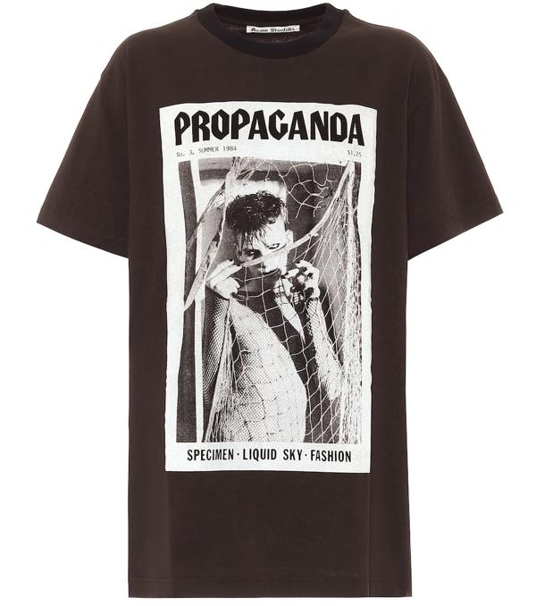 Acne Studios Erice Propaganda Magazine-print Cotton T-shirt In Black