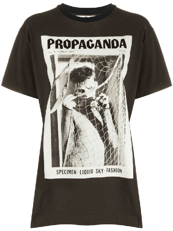 Acne Studios Erice Propaganda Magazine-print Cotton T-shirt In Faded Black