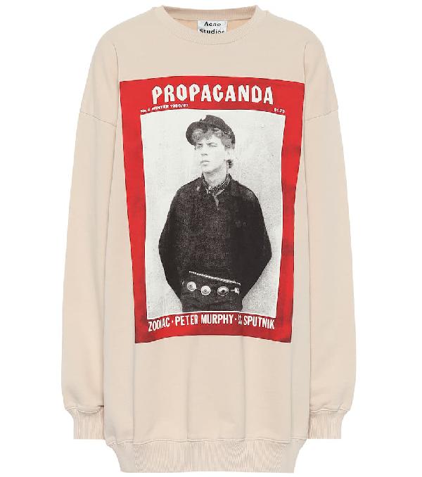 Acne Studios Finale Propaganda Magazine-print Cotton Sweatshirt In Beige