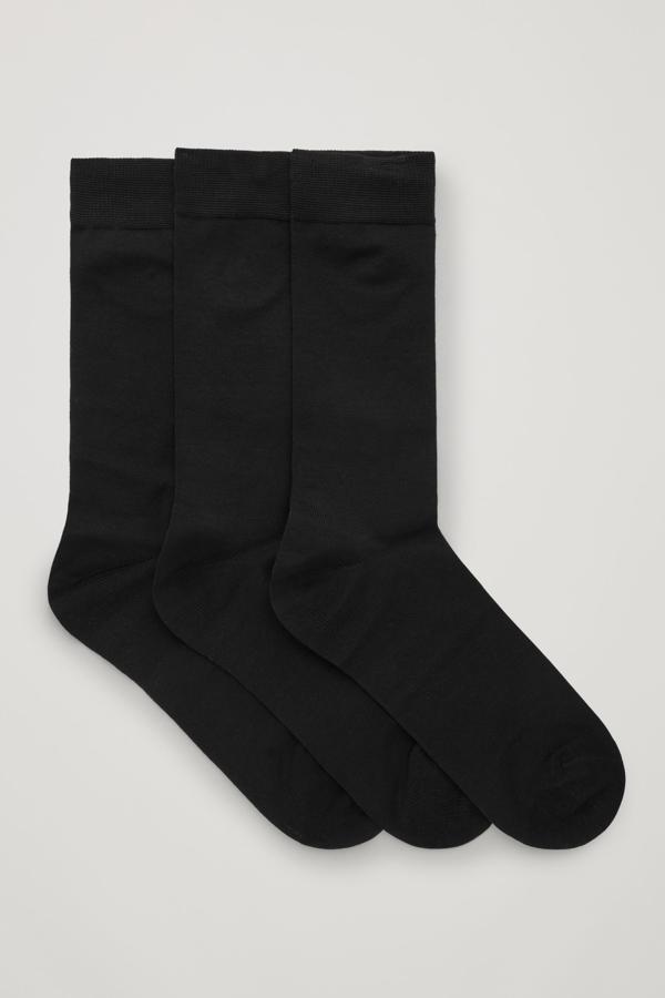 Cos 3-pack Mercerised Cotton Socks In Black