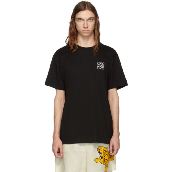 Loewe Anagram-embroidered Cotton-jersey T-shirt In 1100.blk