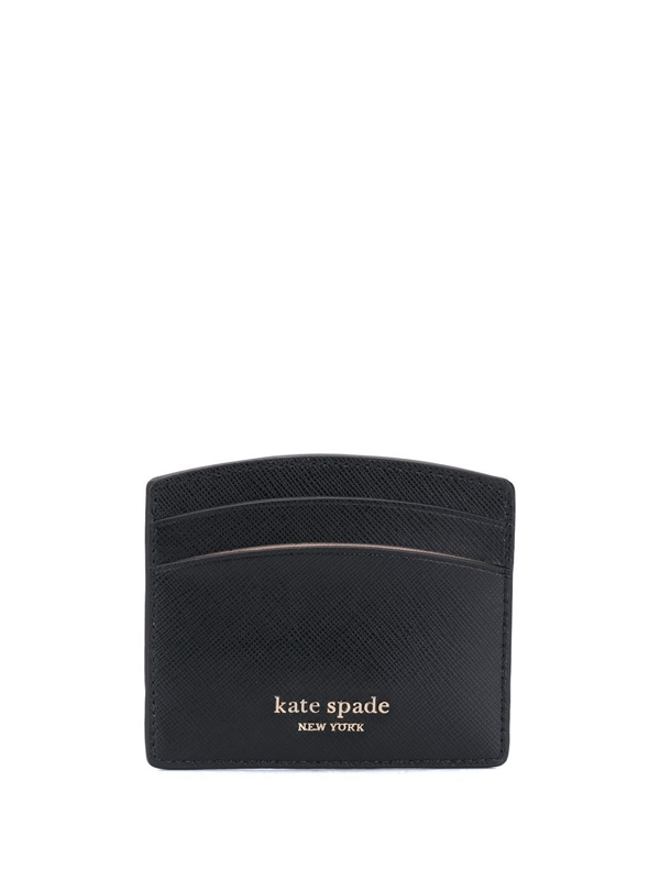 Kate Spade Sylvia Leather Card Holder In Black