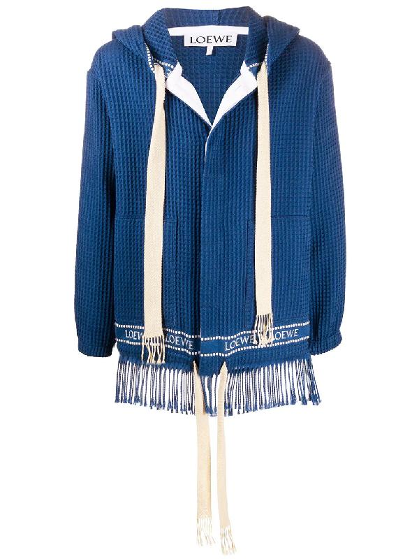 Loewe Fringed Cotton Waffle-piquÉ Hooded Jacket In Blue