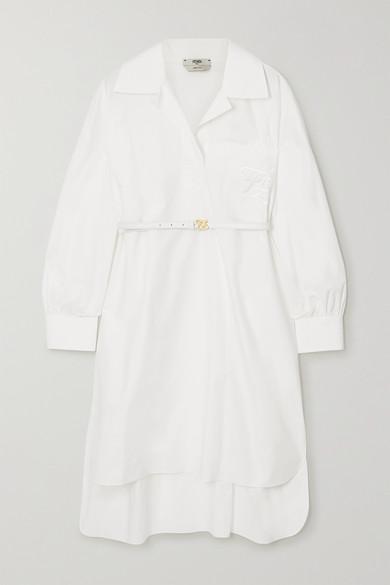 Fendi Belted Embroidered Cotton-poplin Mini Dress In White