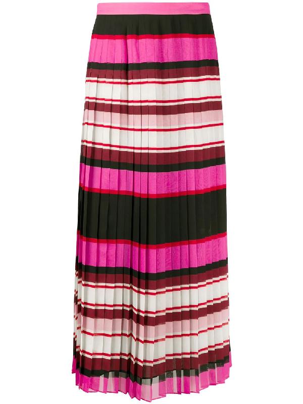 Valentino Pleated Striped Silk-georgette Midi Skirt In Pink