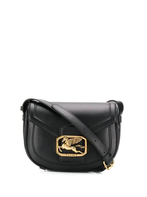 Etro Pegaso Mini Leather Shoulder Bag In Black