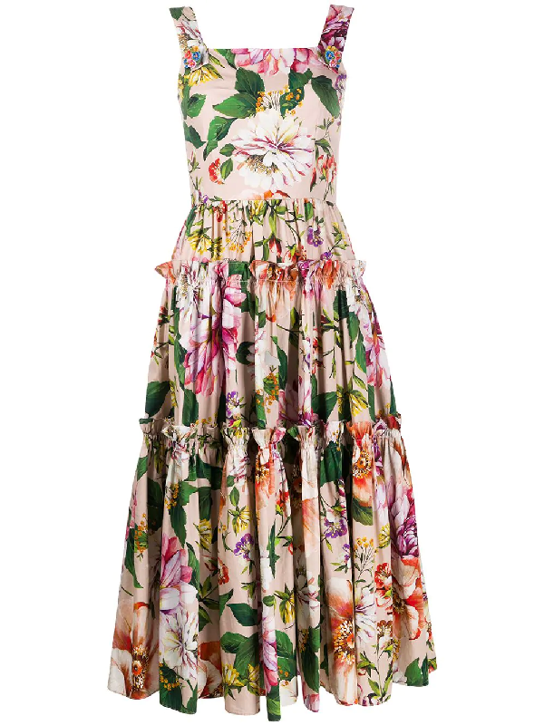 Dolce & Gabbana Printed Flowers Cotton Dress With Jewel Buttons In Pink