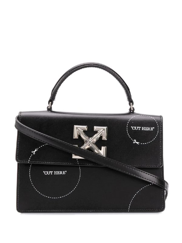 Off-white Jitney 1.4 Cut Here Leather Top Handle Bag In Black