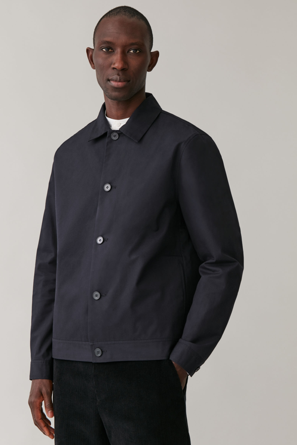 Cos Slim-fit Overshirt In Blue