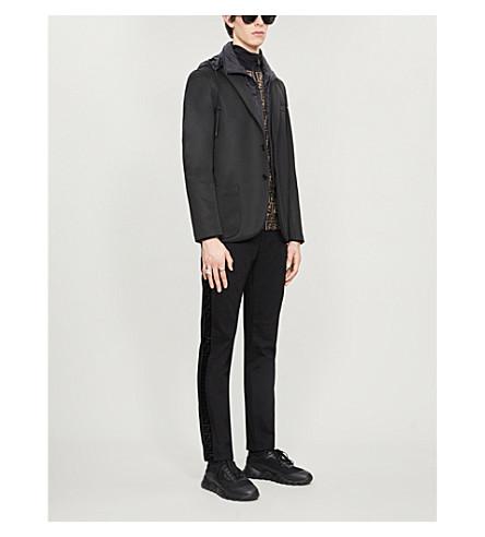 Fendi Detachable-hood Jersey And Shell Blazer In Black