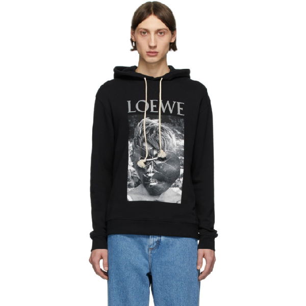 Loewe Lord Of The Flies Printed Hoodie In 1100 Black
