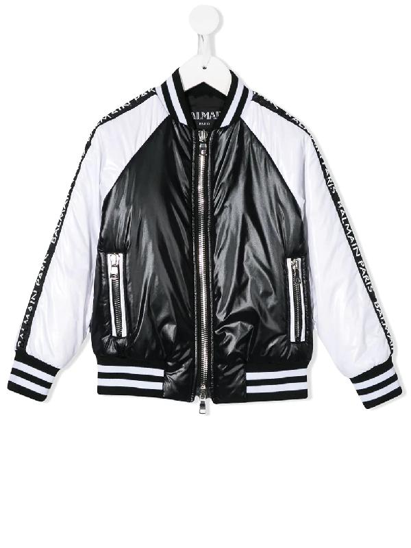 Balmain Kids' Zipped Contrast Bomber Jacket In Black