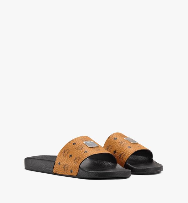 Mcm Men's Logo Group Slide Sandals In Cognac