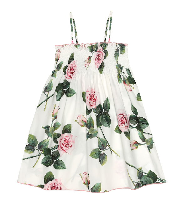 Dolce & Gabbana Kids' Girl's Tropical Rose Shirred Dress In White
