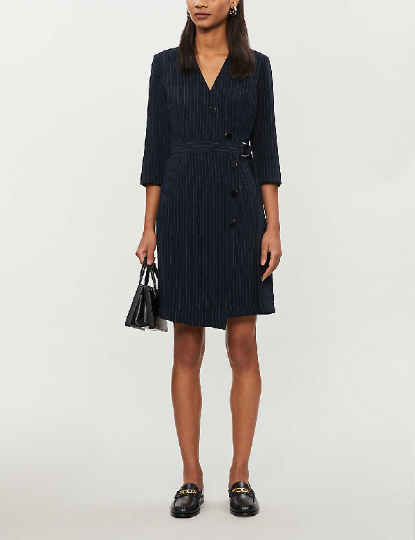 Claudie Pierlot Pinstriped Woven Mini Dress In Bicolore