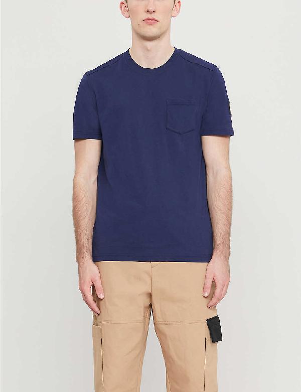 Belstaff Logo-patch Cotton-jersey T-shirt In Blue