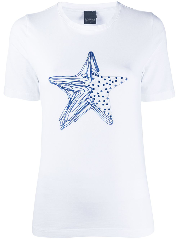 Lorena Antoniazzi Star Print Sequin Embroidered T-shirt In White
