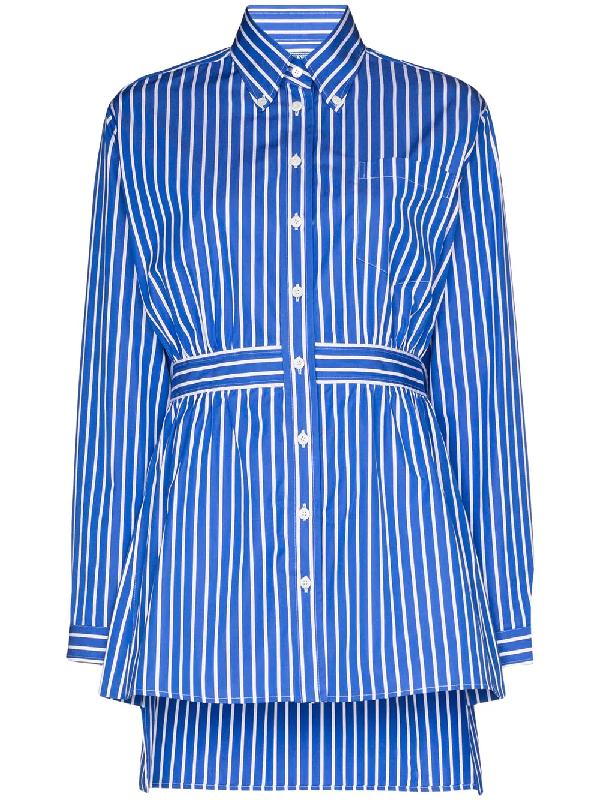 Prada Peplum Striped Shirt In Blue