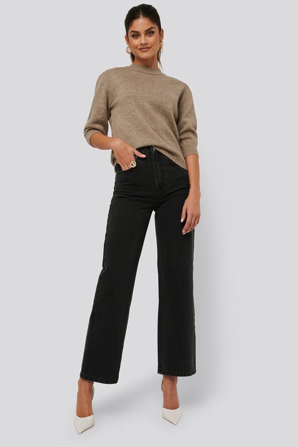 Afj X Na-kd Loose Fit Jeans - Black In Black Wash