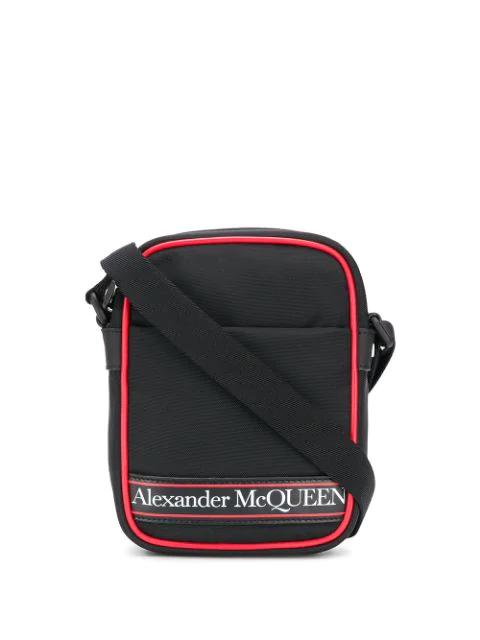 Alexander Mcqueen Logo-print Leather-trimmed Canvas Messenger Bag In Black