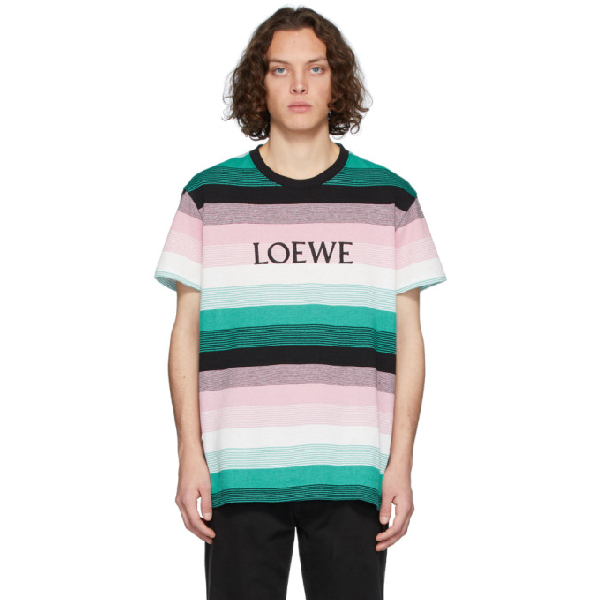 Loewe Logo-embroidered Striped Cotton-jersey T-shirt In Multicolor