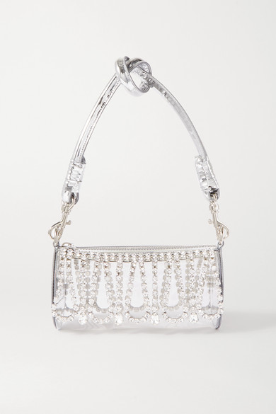 Area Leather-trimmed Crystal-embellished Pvc Shoulder Bag In Silver