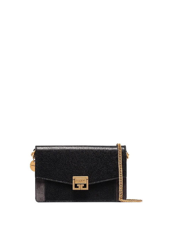 Givenchy Gv3 Textured-leather And Suede Shoulder Bag In Black
