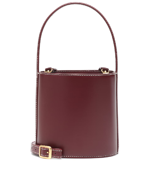 Staud Bisset Mini Topstitched Leather Bucket Bag In Red