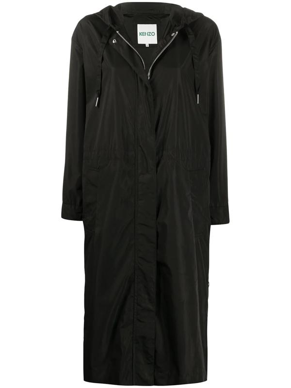 Kenzo Hooded Long-length Parka In Black