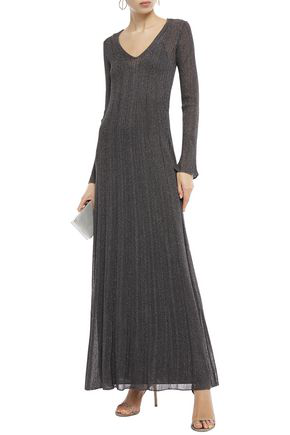 M Missoni Pointelle-trimmed Metallic Ribbed-knit Maxi Dress In Anthracite