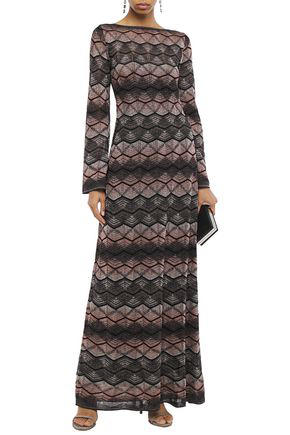 M Missoni Pointelle-trimmed Metallic Crochet-knit Maxi Dress In Anthracite