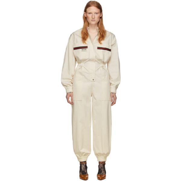Gucci Le Rose Di Eliogabalo Web-stripe Cotton Jumpsuit In 9381 Ivory