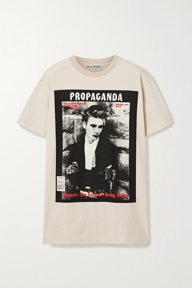 Acne Studios Erice Propaganda Magazine-print Cotton T-shirt In Beige