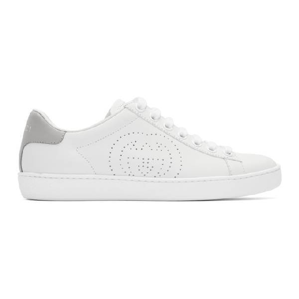 Gucci White & Grey Interlocking G New Ace Sneakers In White/grey Sky