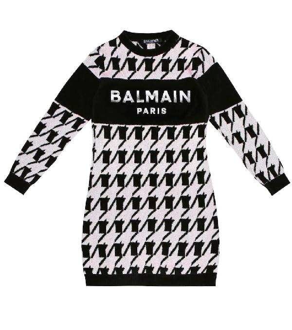Balmain Kids' Black And Pink Girl Dress With Silver Logo