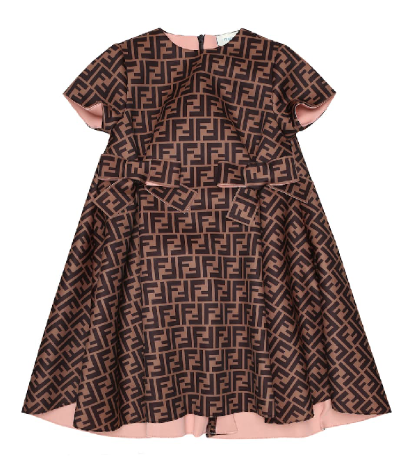 Fendi Kids' Brown Dress With Ff For Girl In Blue