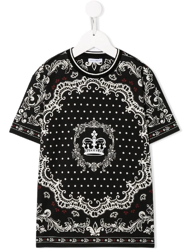 Dolce & Gabbana Kids' Black T-shirt For Boy With Prints And Crown