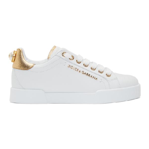 Dolce & Gabbana Calfskin Nappa Portofino Sneakers With Lettering In 8b996 White