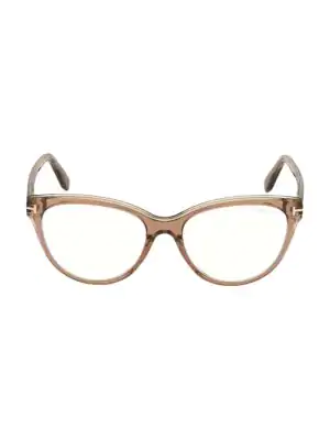 Tom Ford Women's 54mm Blue Block Cat Eye Eyeglasses In Tan