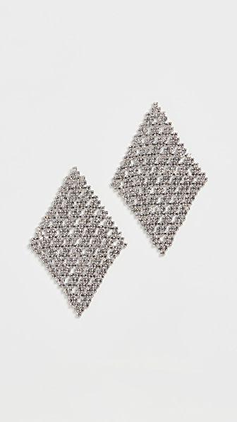 Theia Jewelry Diamond Shape Chandelier Earrings In White Gold Finish