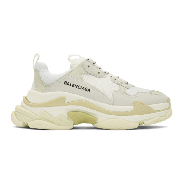 Balenciaga Triple S Clear Sole Logo-embroidered Leather, Nubuck And Mesh Sneakers In 9000 Wht