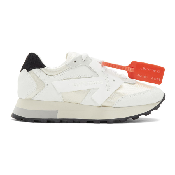 Off-white Hg Runner Leather And Suede Low-top Sneaker In White/white