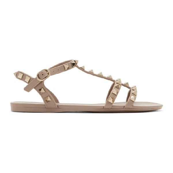 Valentino Garavani Summer Rockstud Pvc Sandals In P45 Poudre