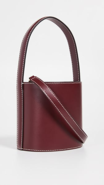 Staud Bissett Mini Bucket Bag In Bordeaux