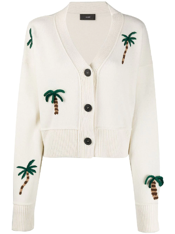 Alanui Palm Forest Cardigan In Lapponia Wh