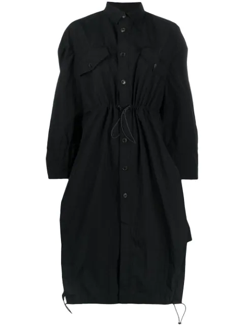 Henrik Vibskov Single-breasted Drawstring Waist Coat In Black