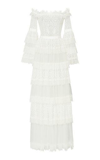 Zuhair Murad Off-the-shoulder Chantilly Lace Dress In White